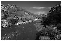 Mission Creek flowing. Sand to Snow National Monument, California, USA ( black and white)