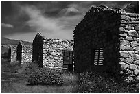 Ruined stone cabins. Sand to Snow National Monument, California, USA ( black and white)