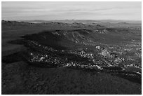 Aerial view of Black Lava Butte and boulders. Sand to Snow National Monument, California, USA ( black and white)