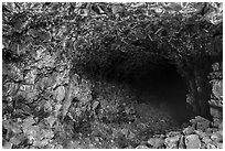 Skull Cave entrance. Lava Beds National Monument, California, USA ( black and white)