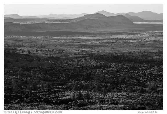 Schonchin Flow and Hardin Butte. Lava Beds National Monument, California, USA (black and white)