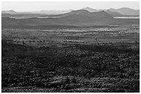 Schonchin Flow and Hardin Butte. Lava Beds National Monument, California, USA ( black and white)
