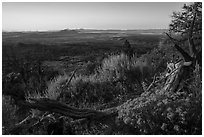 View from Schonchin Butte, sunset. Lava Beds National Monument, California, USA ( black and white)