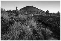 Wildflowers, Big Painted Cave entrance and Schonchin Butte at sunrise. Lava Beds National Monument, California, USA ( black and white)