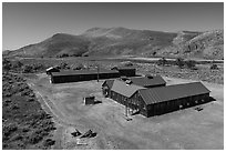 Aerial view of Camp Tulelake, Tule Lake National Monument. California, USA ( black and white)