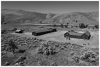 Aerial view of Camp Tulelake former CCC camp which housed Japanese Americans, Tule Lake National Monument. California, USA ( black and white)