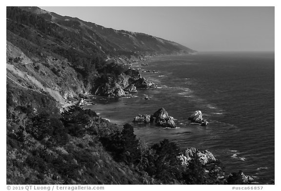 Costline from Partington Point, Julia Pfeiffer Burns State Park. Big Sur, California, USA (black and white)