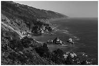 Costline from Partington Point, Julia Pfeiffer Burns State Park. Big Sur, California, USA ( black and white)