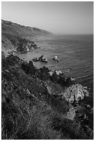 Costline from Partington Point at sunset, Julia Pfeiffer Burns State Park. Big Sur, California, USA ( black and white)