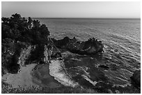 McWay Cove and waterfall at sunset, Julia Pfeiffer Burns State Park. Big Sur, California, USA ( black and white)
