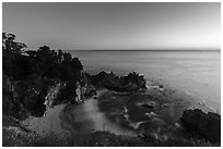 McWay Cove and waterfall at twilight, Julia Pfeiffer Burns State Park. Big Sur, California, USA ( black and white)