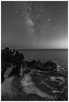 McWay Cove at twilight with Milky Way, Julia Pfeiffer Burns State Park. Big Sur, California, USA ( black and white)