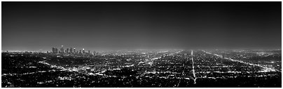 Street grid and city at night. Los Angeles, California, USA (Panoramic black and white)