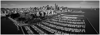 Aerial view of South Beach Harbor, ATT Park, and downtown skyline. San Francisco, California, USA (Panoramic black and white)