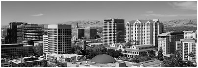 City skyline. San Jose, California, USA (Panoramic black and white)