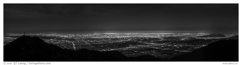 Los Angeles Basin from Mount Wilson at night. Los Angeles, California, USA (black and white)