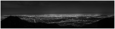 Los Angeles Basin from Mount Wilson at night. Los Angeles, California, USA (Panoramic black and white)