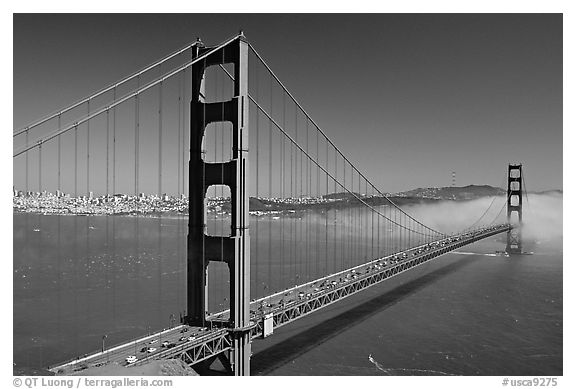 Black And White Picture Photo Golden Gate Bridge And Fog