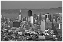 Skyline from Twin Peaks, sunset. San Francisco, California, USA (black and white)