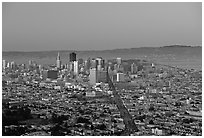 Skyline and Market avenue from Twin Peaks, dusk. San Francisco, California, USA ( black and white)