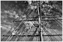 Masts of the Balclutha, Maritime Museum. San Francisco, California, USA ( black and white)