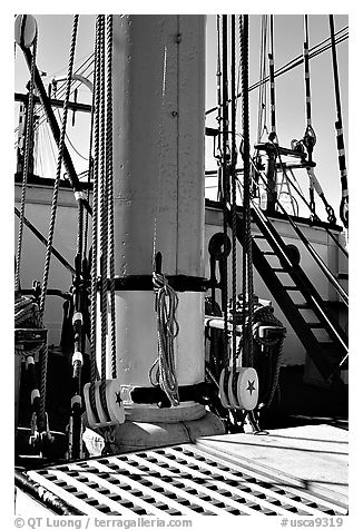 Deck and Mast of the Balclutha, Maritime Museum. San Francisco, California, USA (black and white)