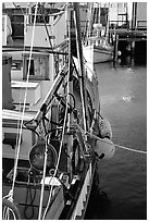 Fishing boat anchored in  Fisherman's Wharf. San Francisco, California, USA ( black and white)