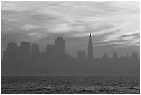 City skyline with sunset clouds seen from Treasure Island. San Francisco, California, USA ( black and white)