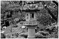 Urn, Japanese Garden, Golden Gate Park. San Francisco, California, USA (black and white)