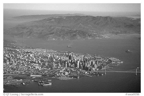 Aerial view of Downtown, the Golden Gate Bridge, and the Marin Headlands. San Francisco, California, USA (black and white)