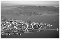 Aerial view of Downtown, the Golden Gate Bridge, and the Marin Headlands. San Francisco, California, USA ( black and white)