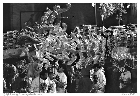 Dragon during the Chinese New Year celebration. San Francisco, California, USA (black and white)