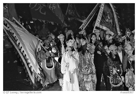 Children parading during the Chinese New Year celebration. San Francisco, California, USA (black and white)
