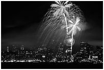 fourth of July fireworks above the City. San Francisco, California, USA (black and white)
