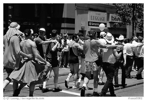 People marching during the Gay Parade. San Francisco, California, USA (black and white)