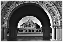Memorial Chapel through the Quad's arch, early morning. Stanford University, California, USA ( black and white)