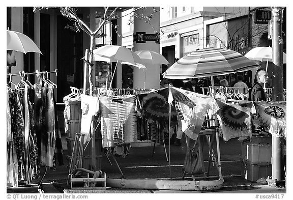 Colorful Tye die T-shirts for sale on Telegraph Avenue. Berkeley, California, USA (black and white)