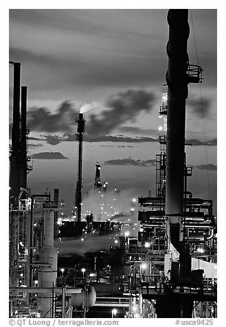 Oil Refinery at sunset, Rodeo. San Pablo Bay, California, USA (black and white)
