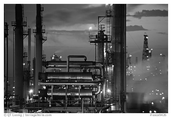 San Francisco Refinery, sunset, Rodeo. San Pablo Bay, California, USA (black and white)