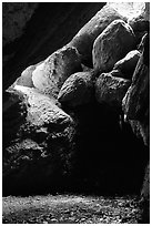 Boulders in Bear Gulch Caves. Pinnacles National Park, California, USA. (black and white)