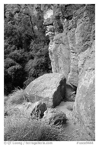 Volcanic rock cliffs. Pinnacles National Park (black and white)