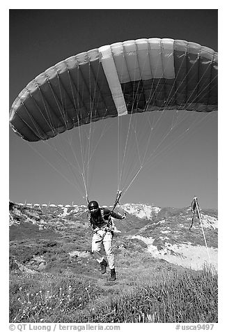 Paraglider launching, the Dumps, Pacifica. San Mateo County, California, USA (black and white)