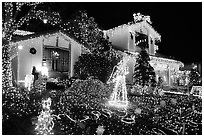 House with Christmas Lights. San Jose, California, USA (black and white)