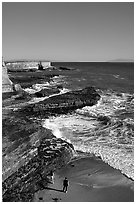 Surf, slabs, and cliffs, Wilder Ranch State Park. California, USA ( black and white)
