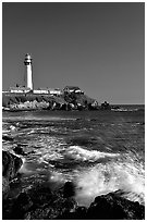 Surf and Pigeon Point Lighthouse, afternoon. San Mateo County, California, USA ( black and white)