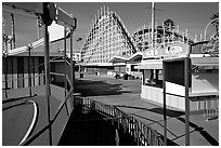 Boardwalk amusement park, morning. Santa Cruz, California, USA ( black and white)