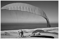 Paragliders practising in sand dunes, Marina. California, USA ( black and white)