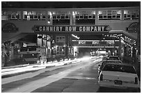 Cannery Row  at night, Monterey. Monterey, California, USA (black and white)