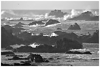 Surf and rocks, Ocean drive. Pacific Grove, California, USA ( black and white)