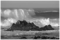 Crashing waves and rocks, Ocean drive. Pacific Grove, California, USA ( black and white)